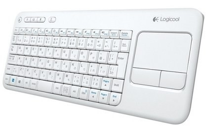 Белоснежная Logitech Wireless Touch Keyboard K400
